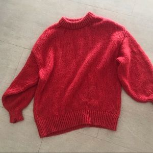 Red Zara oversized cable knit sweater